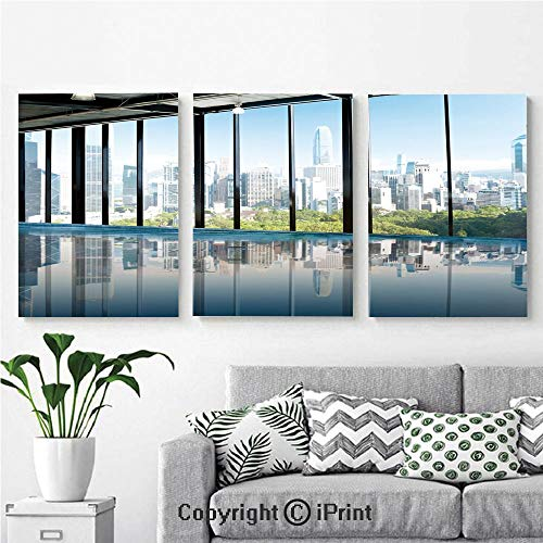Wall Art Decor 3 Pcs High Definition Printing Metropolitan Cityscape of New York USA in Central Park Forest Photo Painting Home Decoration Living Room Bedroom Background,16