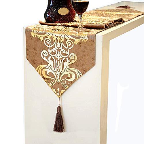 "Riverbyland Elegant Table Runner Gold Floral Pattern Tassel Edge 83x12"""