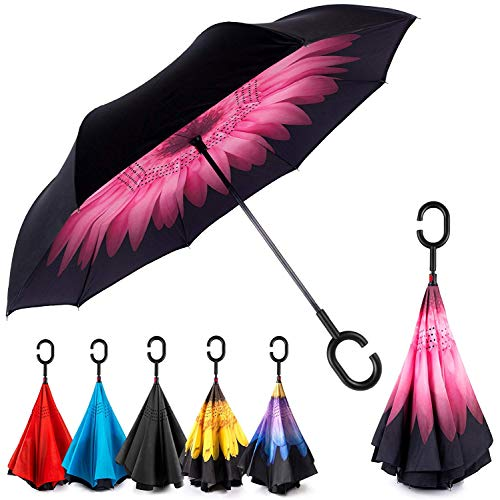 EEZ-Y Reverse Inverted Windproof Umbrella - Upside Down Umbrellas with C-Shaped Handle for Women and Men - Double Layer Inside Out Folding Umbrella (Best Laptop Out Today)