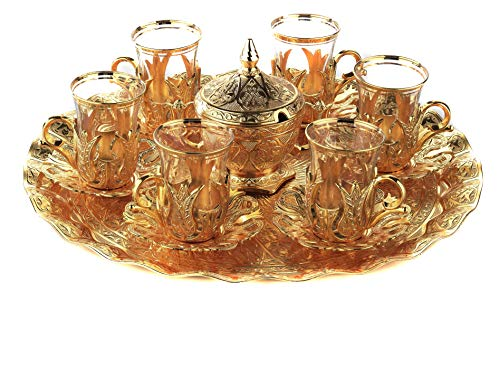 - Gold Case Gold plated Turkish Tea Glasses Service Set for 6 - Made in Turkey - 21 pieced METAL set including tray and sugar bowl with lid in Gift Box, Gold