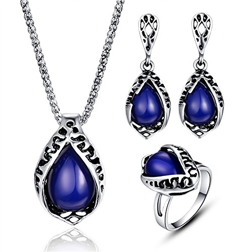 LUYUAN Synthetic Resin Pendant Teardrop Necklace Earring Ring 3 Pcs Fashion Women Jewelry Sets Silver Chain #9