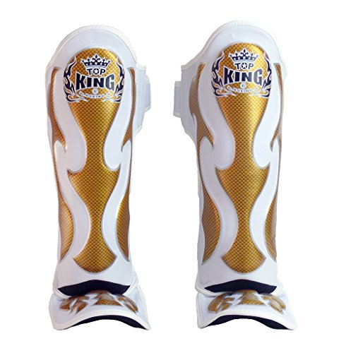 Top King Muay Thai Shin Guards TKSGEM 01 SV Shin Guards Empower Creativity - Black Silver Size: M L XL, Shin Pads/Shin Protection for Muay Thai Kick Boxing MMA K1 (White/Gold, M)