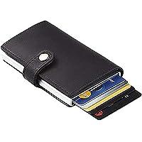 TERSELY Credit Card Holder RFID Blocking Wallet Slim Wallet PU Leather Vintage Aluminum Business Card Holder Automatic Side Slide Trigger Card Case Wallet Security Travel Wallet (Black)
