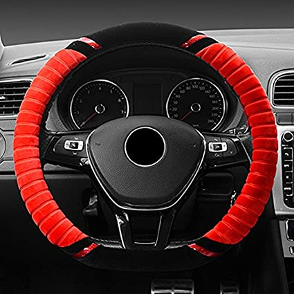 Red/&Black ECLEAR Universal Car Plush D Shape Winter Warmer Steering Wheel Cover 15 inch//38CM Non-Slip Auto Truck SUV Handbrake Cushion Protector