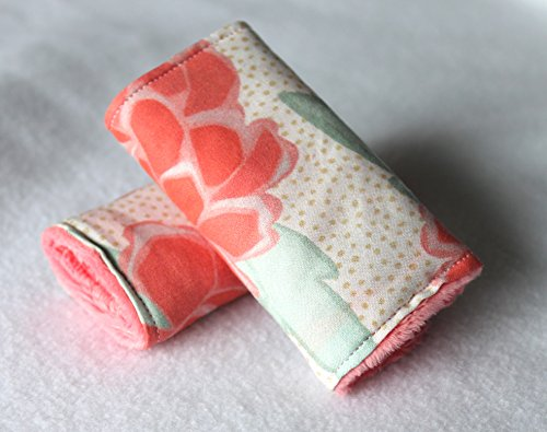 reversible-car-seat-or-stroller-strap-covers-coral-peony-with-coral-minky-backing-ready-to-ship