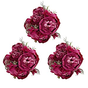 EZFLOWERY 3 Pack Artificial Peony Silk Flowers Arrangement Bouquet for Wedding Centerpiece Room Party Home Decoration, Elegant Vintage, Perfect for Spring, Summer and Occasions (3, Hot Pink) 3