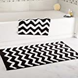 Lavish Home 100% Cotton 2 Piece Chevron Bathroom Mat Set - Black