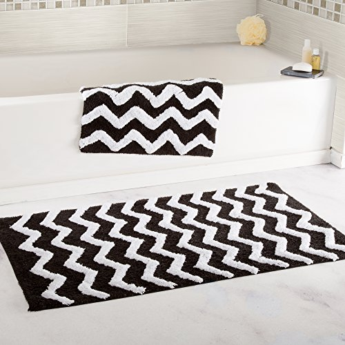 Lavish Home 100% Cotton 2 Piece Chevron Bathroom Mat Set - Black by Lavish Home
