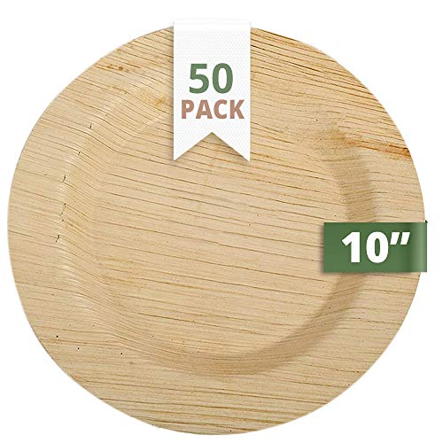 CaterEco 10-inch Deluxe Round Palm Leaf Plates Set (50 Pack)   Ecofriendly Disposable Dinnerware   Heavy Duty Biodegradable Party Utensils for Wedding, Camping & More -