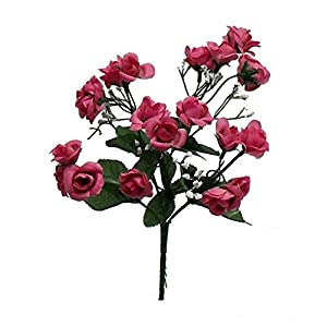 "14.5"" Mini Open Rose Bush Artificial Silk Wedding Bridal Craft Bouquet Flowers 5 Stems (Mauve) 11"