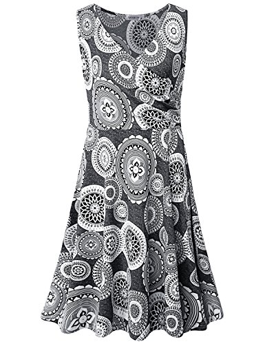 MOQIVGI Modest Dresses for Women,Ladies Spring Summer Fashion 2019 Prime Boho V Neck Wrap Pleated Party Elegant Midi Sleeveless Business Casual Office Work Dress Gray Large