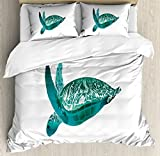 Turtle Queen Size Duvet Cover Set by Lunarable, Tropical Climate Animal Hawaii Fauna Underwater Diving Aqua Reptile, Decorative 3 Piece Bedding Set with 2 Pillow Shams, Jade Green Pale Sea Green