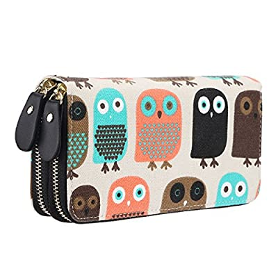 Women Large Capacity Canvas Purse Zipper Clutch Wallet Phone Card Checkbook Holder Handbag