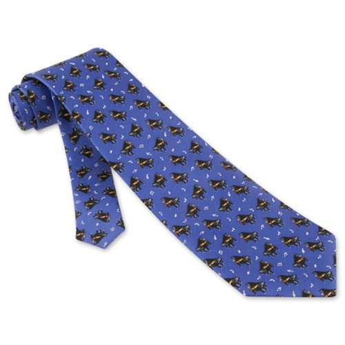 Pianos Tie Blue Silk Necktie - Mens Music Neck Tie