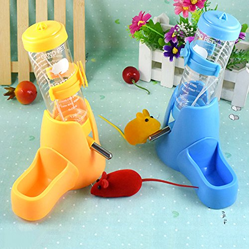 Image of 125ml Pet Drinking Bottle with Food Container Base Hut for Hamsters Small Animals Hanging Water Feeding Bottles Auto Dispenser (Blue)