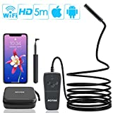Wireless Endoscope,ROTEK Semi-rigid WiFi Inspection Camera IP68 Waterproof Borescope 2.0 Megapixels 1080P FHD Snake Camera with 8 LEDs Light for iPhone iPad Android Phone, Tablet PC - 16.4FT