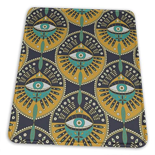 Tribal Evil Eye Pattern Pad with Stitched Edges Mousepads Non-Slip Rubber Base, Waterproof Coating Mouse Pads for Computers, Laptop, Office & Home, 4 Size
