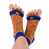 Foot Alignment Socks with Toe Separators by My Happy Feet | for Men or Women | Navy and Orange (Medium)
