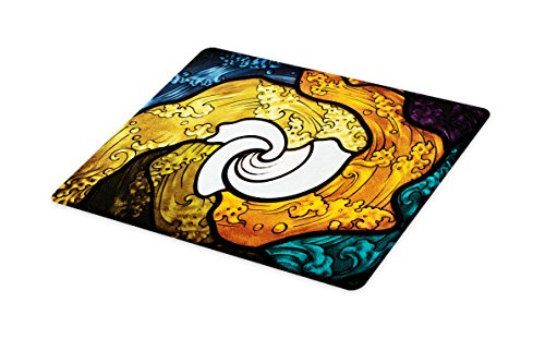 Lunarable Trippy Cutting Board, Pop Art Style Funky Unusual Stained Glass Window Thai Art Pattern Traditional Image, Decorative Tempered Glass Cutting and Serving Board, Small Size, Multicolor by Lunarable