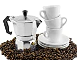 Moka Pot Set w/ Three Espresso Cups & Saucers (3-Serving Stovetop Espresso Maker)