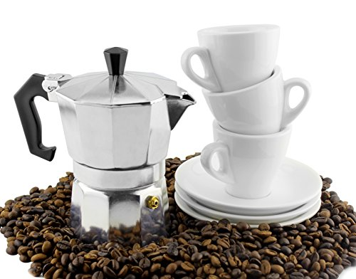 Moka Pot Set w/ Three Espresso Cups & Saucers (3-Serving Stovetop Espresso Maker) Metal Espresso Maker