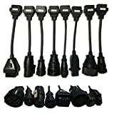 8X Adapter OBD2 TCS Cables Pro Truck Diagnostic Scanner For AUTOCOM CDP (black)
