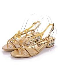 b95f094c06a15 Women s Low Block Heel Diamante Jewelled Slingback Sandals Shoes ·  Unicrystal