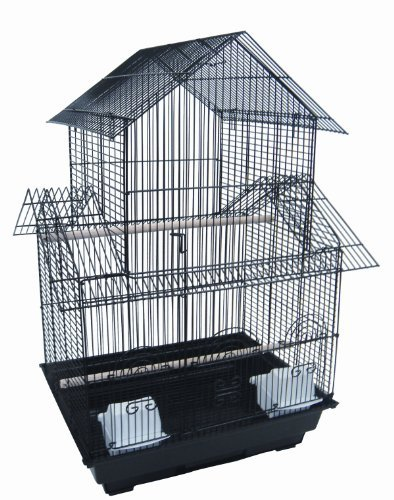 YML 18-Inch by 18-Inch Small Pagoda Top Bird Cage, Black