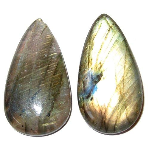 - SatinCrystals Labradorite Cabochon Collectible Pair of Drop Crystals Rainbow Spectrolite Teardrop Gem Reiki Meditation Stones C60 (1.4
