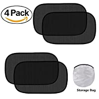 "Fullive Car Sun Shade - Cling Sunshade for Car Windows - (4 Pack) Side Window Sunshade Blocks Glare and UV Rays 20"" x 12"" Sun Protector for Baby Kids and Pets (Black)"