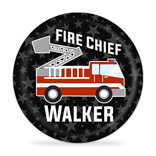 Fire Truck Personalized Plate - Kids Red Firetruck Melamine Plate