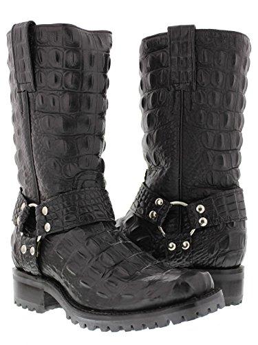 EL PRESIDENTE - Men's Black Full Crocodile Design Leather Motorcycle Biker Boots 10.5 E US