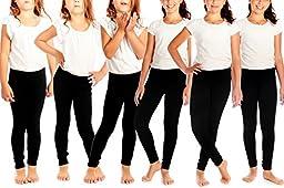 Crush Toddler Girs Seamless Full Length Legging Pants 6 Pack Black Size 2T 4T