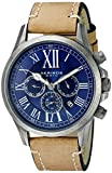 Akribos XXIV Men's AK897SSBU Multifunction Dial Watch with Tan Strap