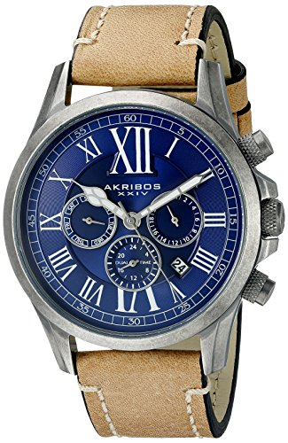 Akribos-XXIV-Mens-AK897SSBU-Multifunction-Dial-Watch-with-Tan-Strap
