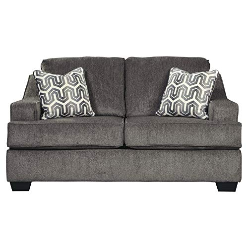 - Ashley Furniture Signature Design - Gilmer Chenille Upholstered Loveseat w/Accent Pillows - Contemporary - Gunmetal