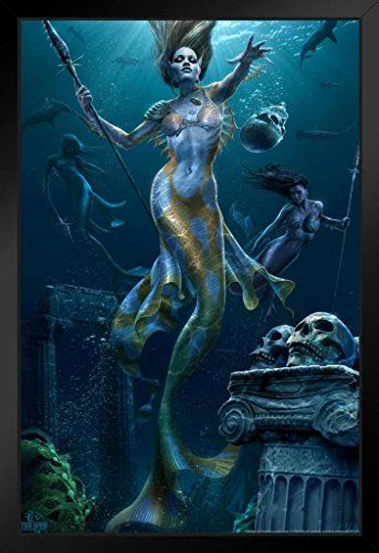 Mermaids Hunt Tom Wood Fantasy Art Framed Poster 14x20 inch
