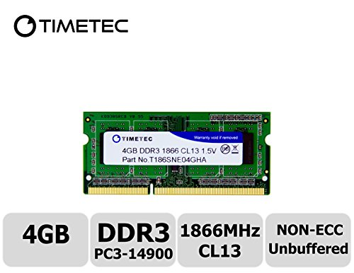 Timetec Hynix IC 4GB DDR3 1866MHz PC3-14900 Non ECC Unbuffered 1.5V CL13 1Rx8 Single Rank 204 Pin SODIMM Laptop Notebook Computer Memory Ram Module Upgrade - Aopen Components Pc Mini