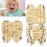 FTXJ Baby Boy Teeth Box, Milk Teeth Wood Case Storage Keepsake Organizer Deciduous Souvenir (Khaki, 12cm)