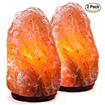 Set of 2 Natural Himalayan Pink Salt Lamp Hand Carved With Elegant Wood Base. Includes Bulbs, 5-7 Inches, 4-7 lbs (each)