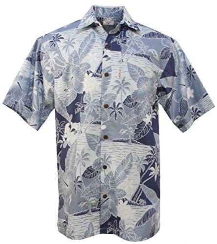 Shirt Hawaiian Go Barefoot (Go Barefoot Koko Head Men's Hawaiian Print Aloha Shirt - in Blue - XX-Large)