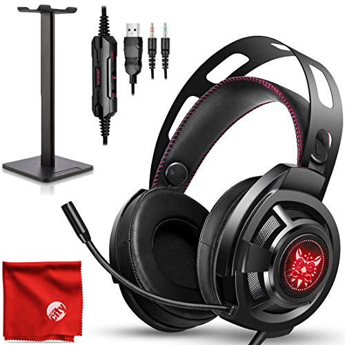 (ONIKUMA M190 Pro RGB LED Light Over-Ear 7.1 Surround Sound Noise Cancelling Gaming Headset Microphone Bundle with Headphone Stand for PC, Xbox One, PS4, Nintendo Switch, Mac, Desktop, Laptop, Computer )