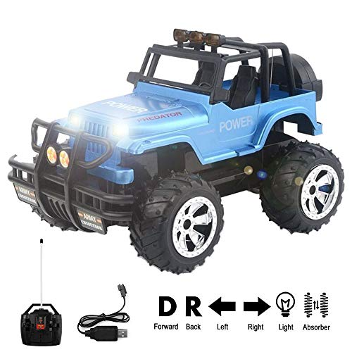 Remote Control Jeep Car 4WD Off Road Rock Crawler Vehicle 2.4 GHz All Terrain Big Foot Jeep R/C Vehicle 1:16 Scale Rechargeable RC Toy Car with Lights & Sounds for Kids Boys Girls ()