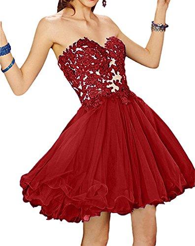 La_mia Braut Dunkel Fuchsia Kurzes Herzausschnitt Abendkleider Ballkleider Cocktailkleider Partykleider Mini Dunkel Rot 21OXsadVS