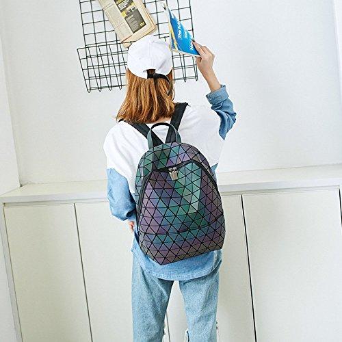 capacidad de estudiante la luminosa grande romántica las bolso mochila geométrica mochila laser la de Triángulo Color Laser hombro mujeres de del cose que del XRR6qw