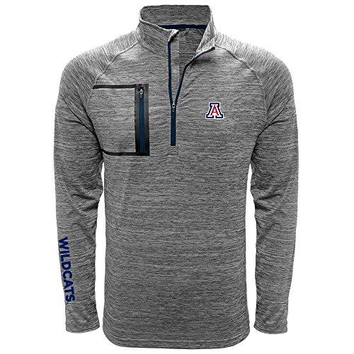Levelwear LEY9R NCAA Arizona Wildcats Adult Men Vault Wordmark Quarter Zip Mid-Layer, Medium, Heather Charcoal/Navy