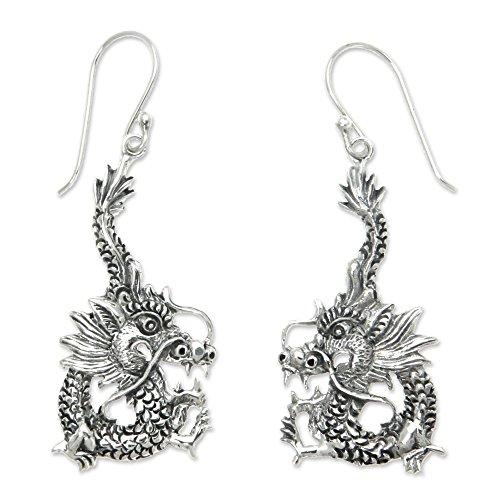 - NOVICA Sterling Silver Dragon Dangle Earrings 'Dragon Splendor'