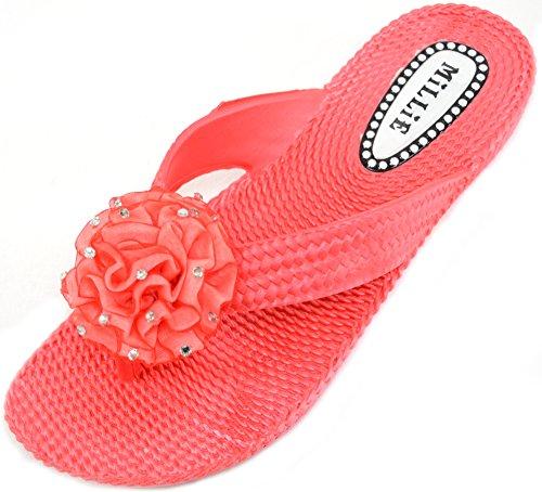 Damer / Kvinnor Sommar / Semester / Beach Millie Sandaler / Skor / Flip Flops Med Diamante Blomma Röd