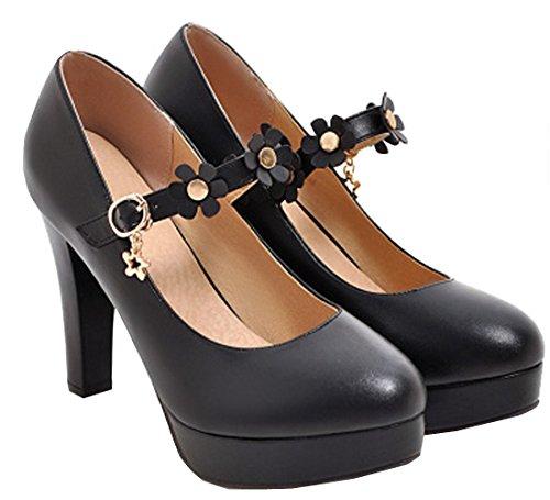 VECJUNIA Ladies Elegant High Heels Shoes Beautiful Flower Belt Mary Jane Party Shoes Black q9cKS