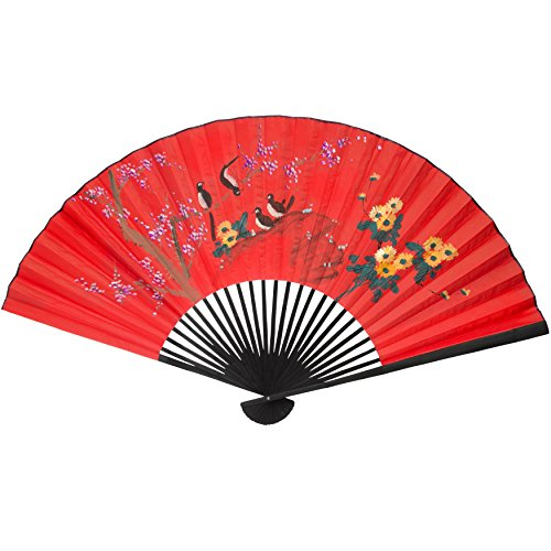 Cherry Blossoms Against Red Background (Oriental Furniture Birds on Tree Wall Fan #2 - (Size: 70